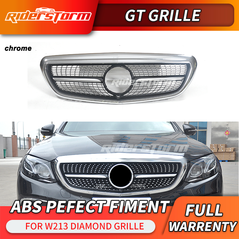 For new E class w213 diamond grille for mercedes Benz w213 E350 grille front lip front bumper parts car accessories image