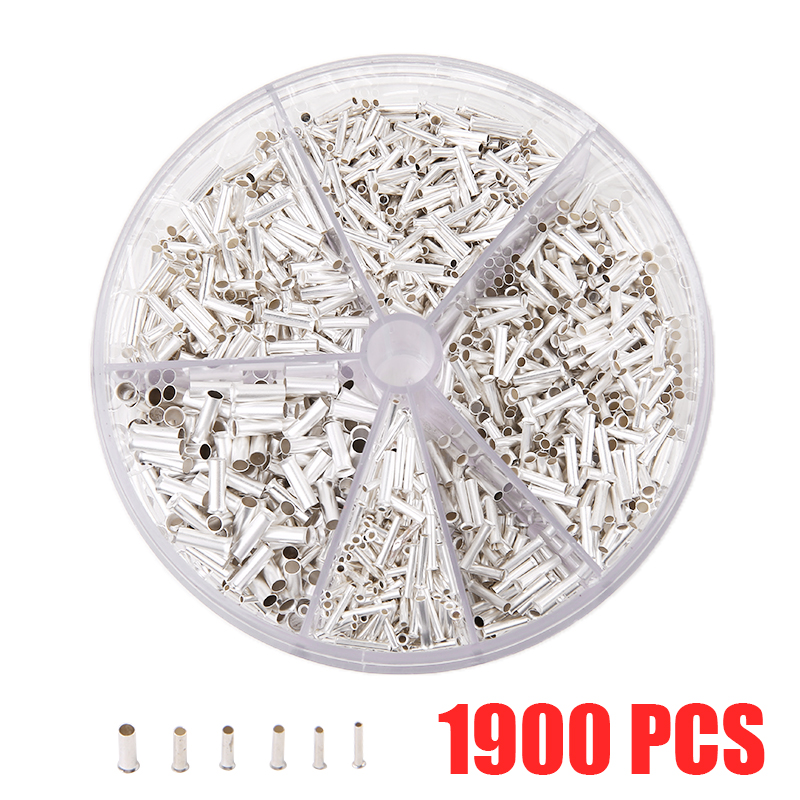 1900 Pieces Bare Non Insulated Butt Connector Cable Wire Crimp Terminals Electrical Splice DIY Assortment Kit with Storage Case