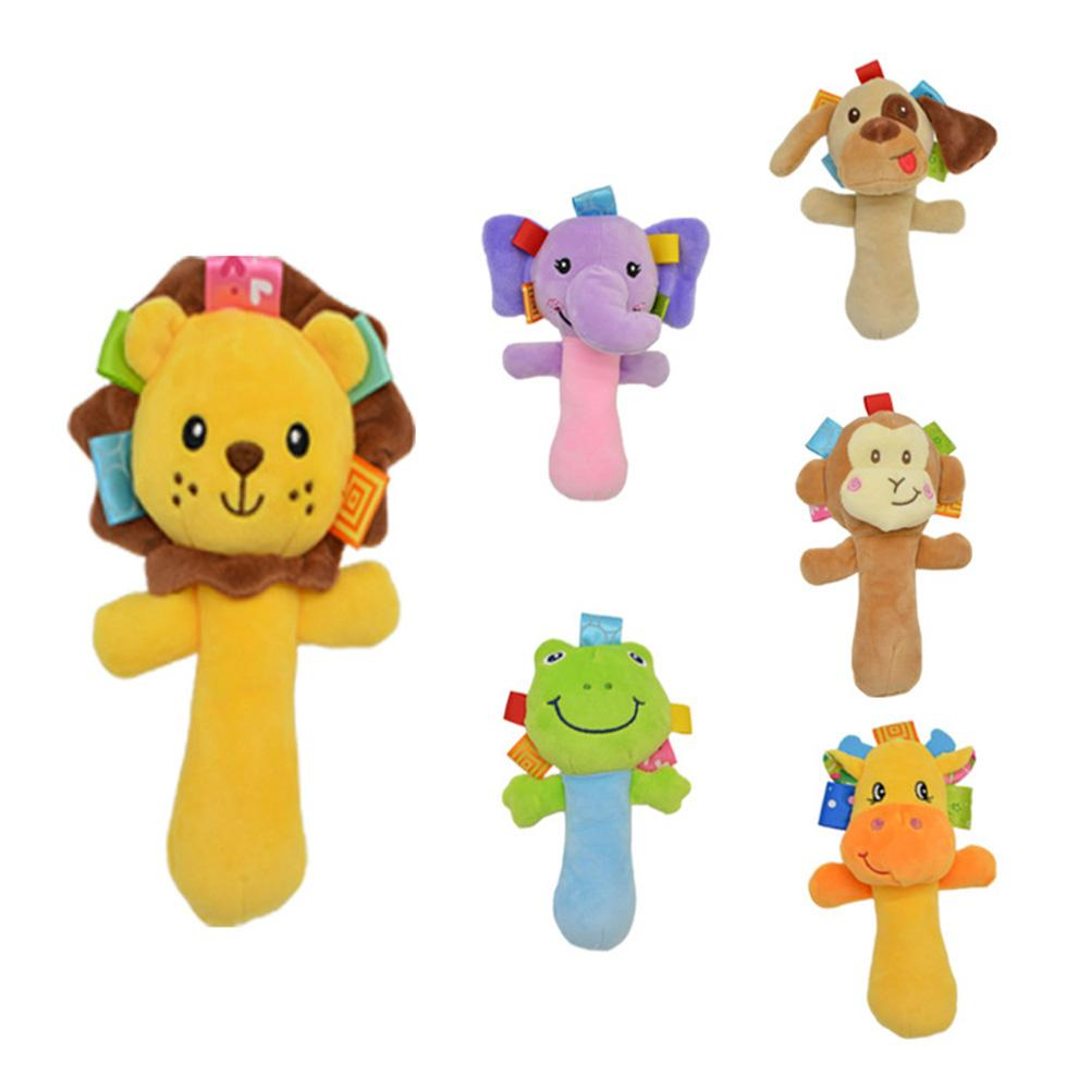 1 PC Baby Rattle Toy Dog Animal Plush Doll Hand Grasp Rattle BB Device Baby Stroller Pendant Toy For Newborns New