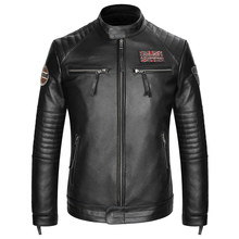 2019 Black Men American Motorcycle Leather Jacket Plus Size XXXL Genuine Cowhide Slim Fit Biker's Leather Coat FREE SHIPPING(China)