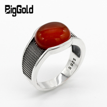 New Natural Onyx Stone Ring For Men Solid 925 Sterling Silver Thai Silver Red Semi precious Stone Men Ring Turkish Jewelry