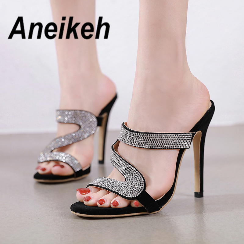 Aneikeh New Summer Fashion Bling CRYSTAL Slippers Open Toe Heel Women High Heel Shoes Thin Heels Slippers Pumps Black Size 35-42