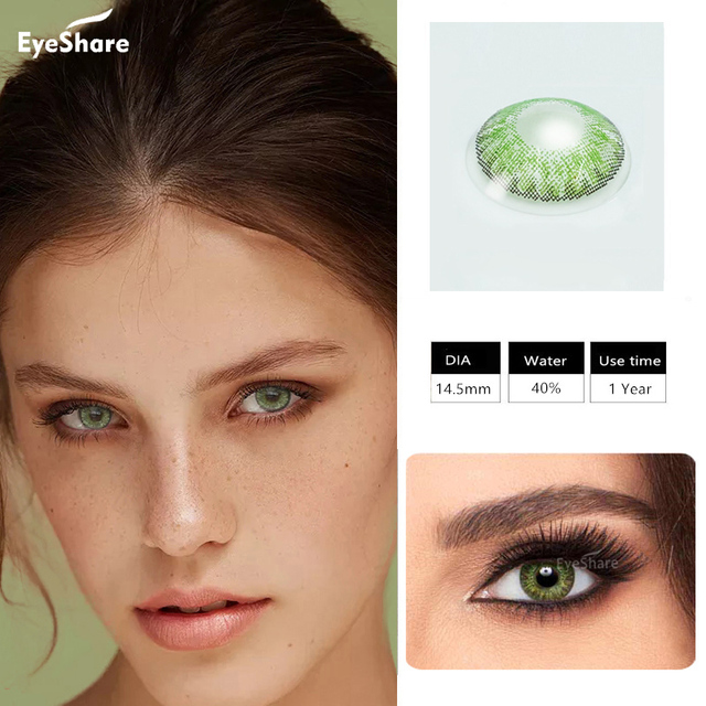 EYESHARE- 1 Pair 3 Tone Brilliant Colored Contact Lenses for Eyes Cosmetic Coloured  Eye Lenses Contacts 2