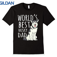 Cotton T-Shirt Siberian Husky Father-Day-Gift Best Mens Tees World's Cool Dad Dog Unisex