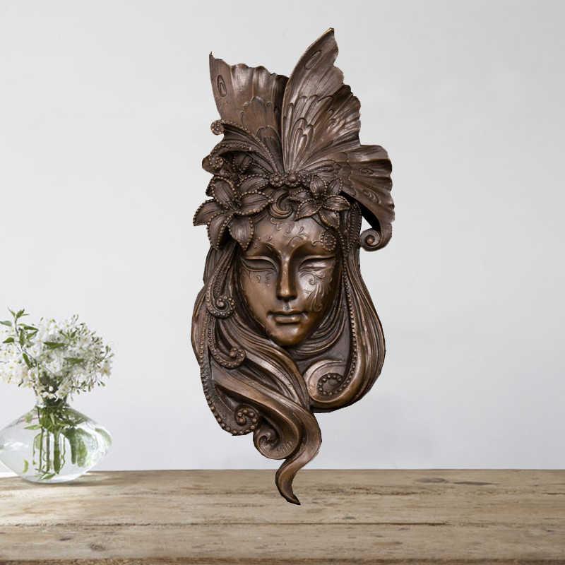 ديكور المنزل تمثال برونزي تمثال الوجه جدار الفن تمثال النحت للبيع
