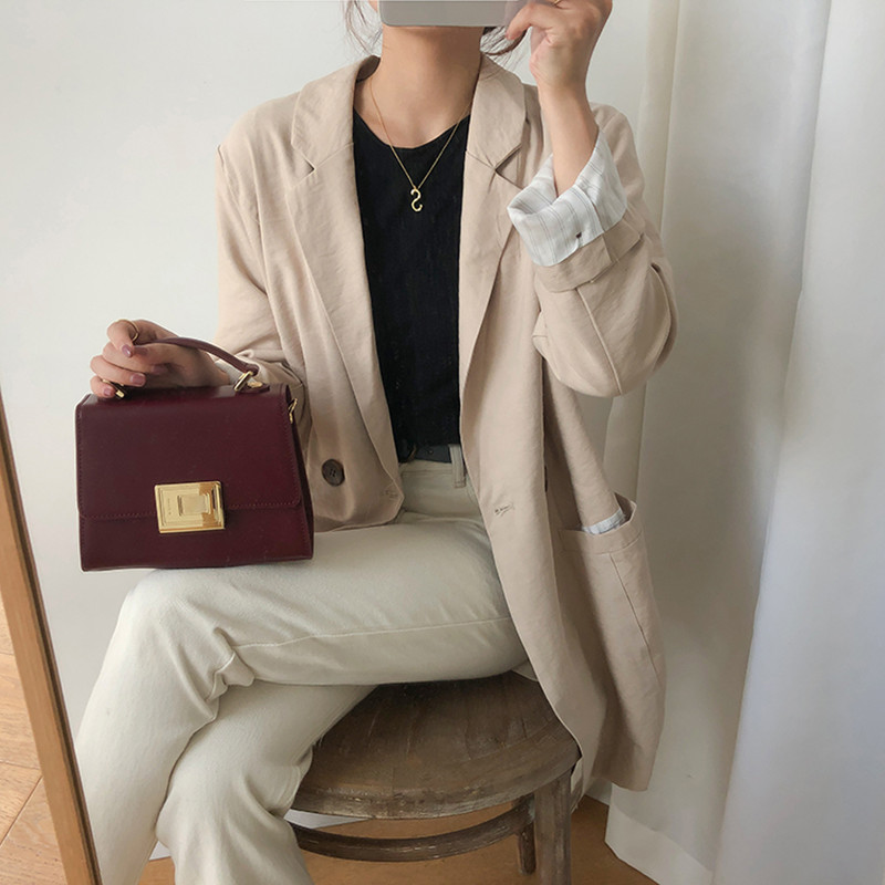 Korean Style Breif Long Sleeve Solid Color Beige Blazer Womens Jacket And Coats Casual Blazer Womens (F3790)