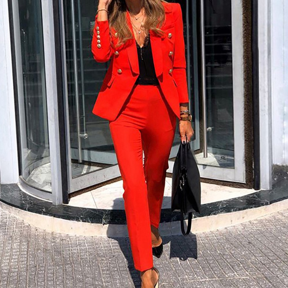 Muyogrt Women Blazers Two Piece Set Casual Notched Long Sleeve Blazers Coat Pencil Pants Office Lady Business Tracksuit Outfits