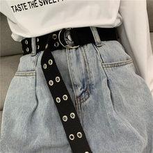 Boucle de ceinture en toile à 2 anneaux, fermoir noir de type D, en tissu, effet œil vapeur, de styliste étendu