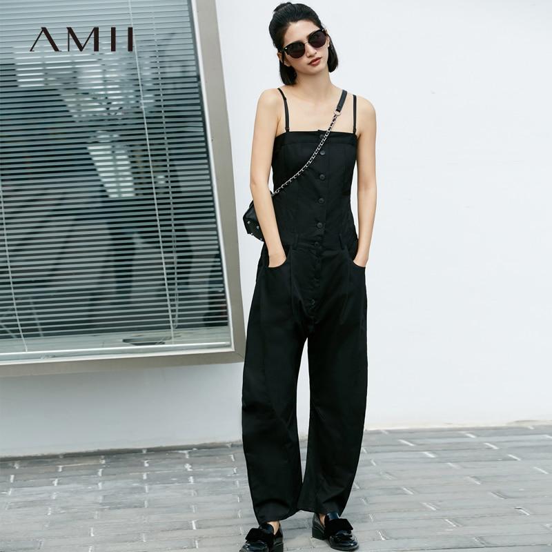 Amii Minimalist Sling Rompers Autumn Women Solid Sleeveless Slim Breasted Female Jumpsuit 11877711