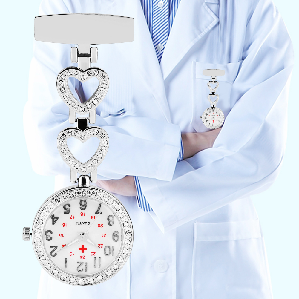 Nurse Pocket Watch Bright Diamond Heart And Star Shape Pin Buckle Quartz Watch Clock Gitfs For Female Doctor Nurse Reloj Mujer