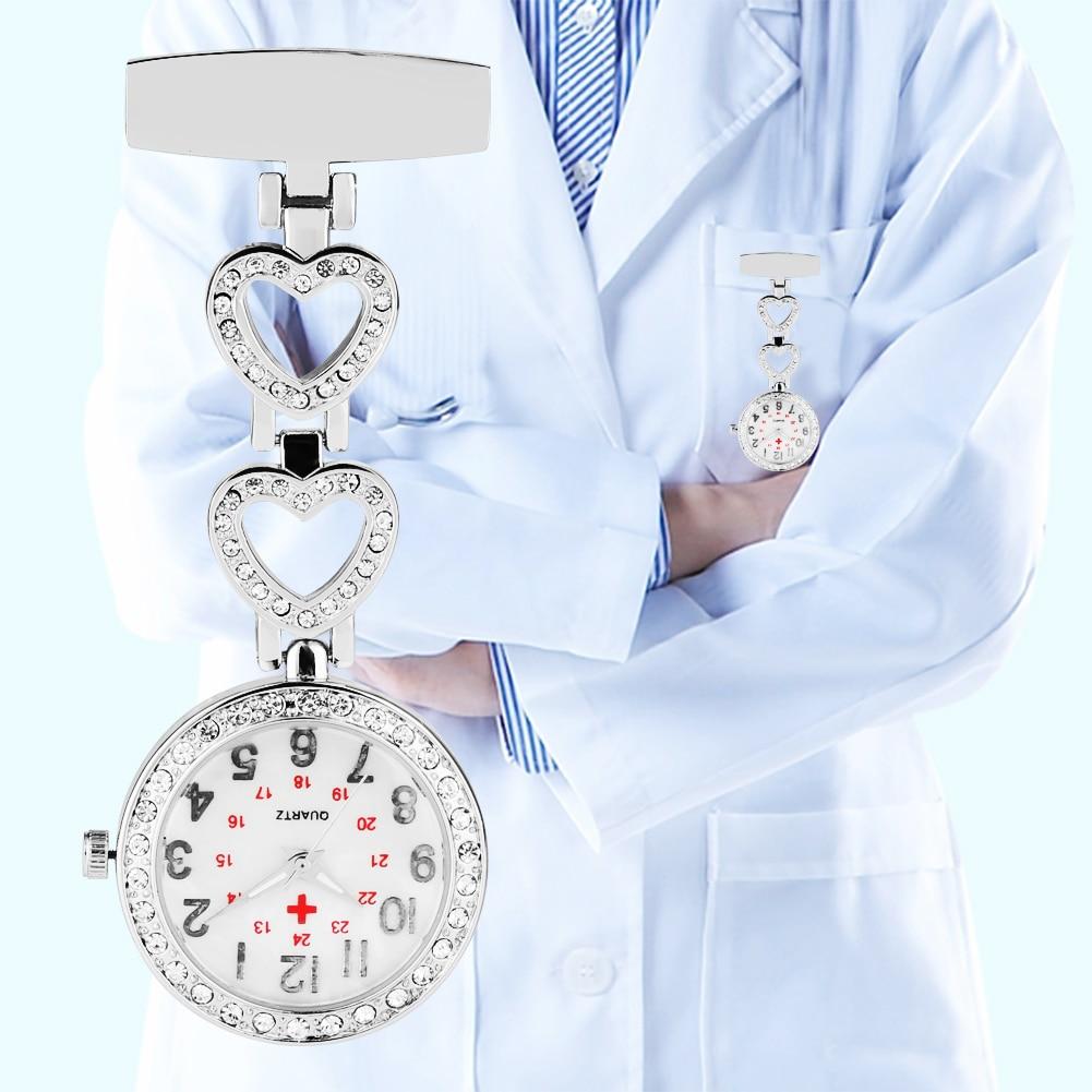 Nurse Pocket Watch Bright Diamond Heart And Star Shape Pin Buckle Quartz Watch Clock Gitfs For Female Doctor Nurse Reloj Mujer