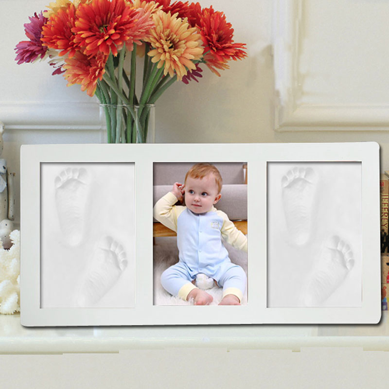 Baby Hand Foot Print Hands Feet Mold Maker Baby Photo Frame With Cover Fingerprint Mud Set Baby Growth Memorial Gift