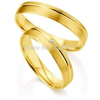 2014 fashion wedding jewelry Yellow Gold plating layer Handmade womens mens titanium wedding couples lovers rings