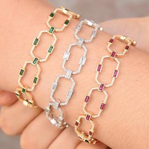 Image 3 - GODKI Luxury Square Link Chain Bracelets Bangles Cubic Zircon CZ Vintage Bohemian Cuff Bracelets For Women Femme Fashion Jewelry