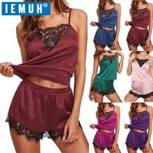 IEMUH New Lounge Sleep Pajama Set Sexy Satin Sleepwear Women