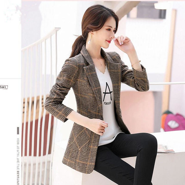 PEONFLY Vintage Office Lady Notched Collar Plaid Women Blazer Single Button Autumn Jacket 2021 Casual Pockets Female Suits Coat 3