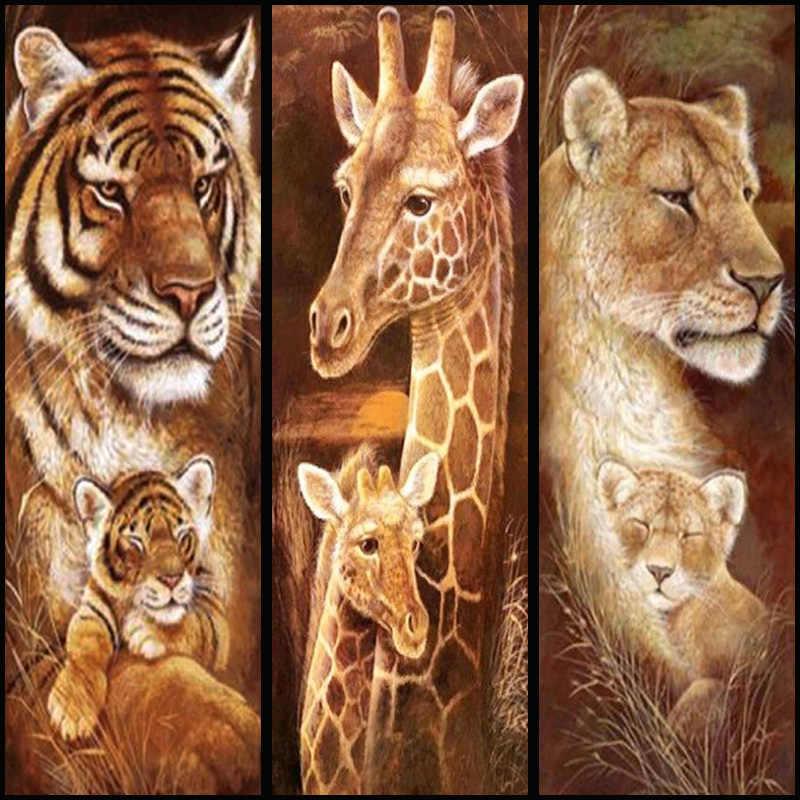 יהלומי רקמת 5D DIY מלא יהלומי ציור בעלי החיים נמרים ג 'ירפות צלב תפר מלא ריינסטון פסיפס חג המולד