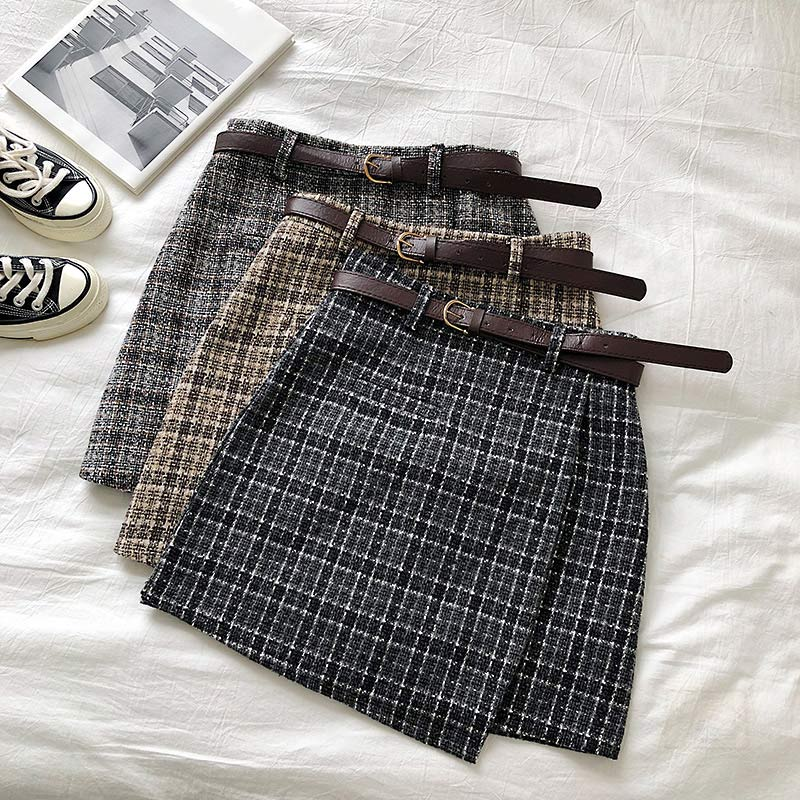 Women Plaid Vintage Irregular Short Skirt Bottoms High Waist Belt Mini Ladies Skirts 2020 Spring Autumn Female Chic Clothes