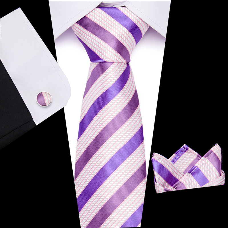 2019Luxury Classic Pink  Striped Men Ties Set 8cm Necktie Navy Blue Paisley 100% Silk Jacquard Woven Neck Tie Suit Wedding