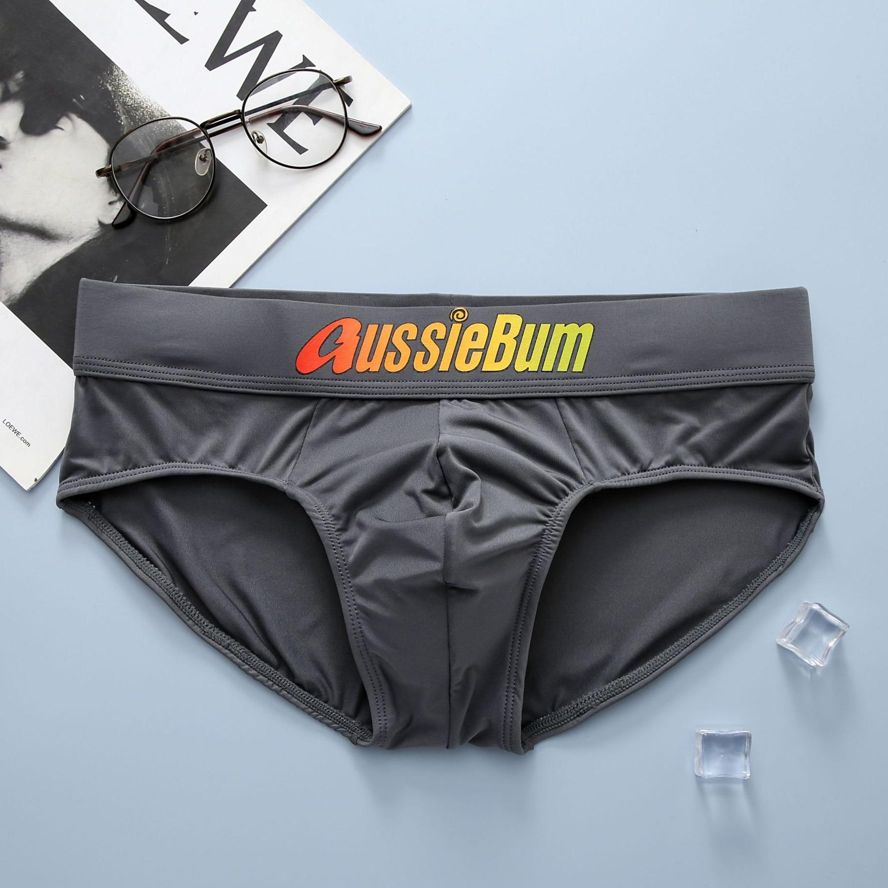 Aussiebum men's briefs milk silk low waist elastic comfortable u convex bag colorful words 5