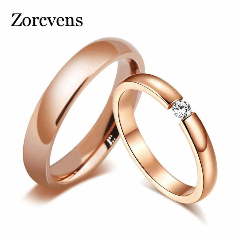 ZORCVENS Trendy Bright 585 Rose Gold Tone Engagement แหวนคู่สแตนเลส CZ หินผู้ชายผู้หญิงงานแต่งงาน