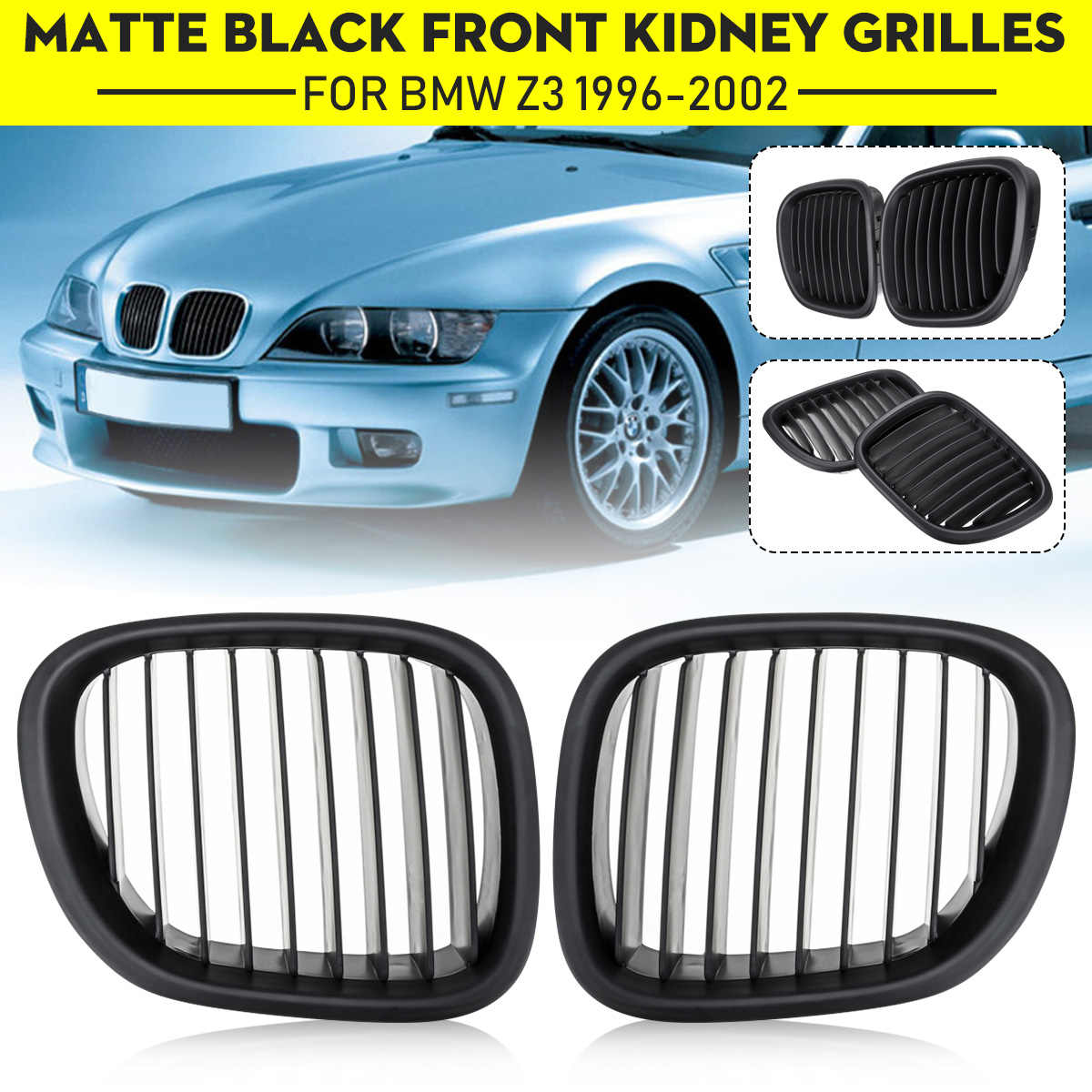 2 Pcs Gloss Matte Black Front Kidney Grill Grille For Bmw Z3 1996 2002 51138397504 51138397503 51138412949 51138412950 Styling Aliexpress