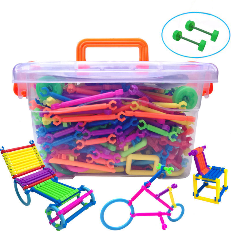 500/800/1000pcs Set Assembled Building Blocks DIY Stick Plastic Blocks Imagination Creativity Educational Toys Children Gift