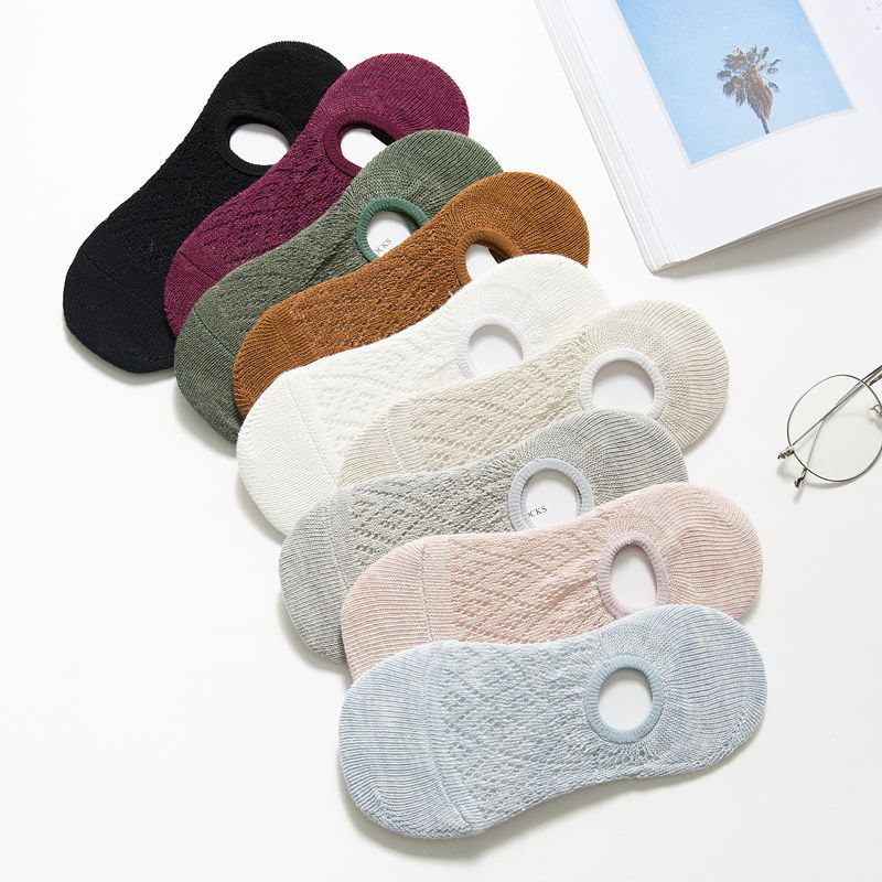 Women Socks Slippers Spring Summer New Fashion Mesh Solid Color Socks Breathable Ankle Girl Socks Female Korean Style