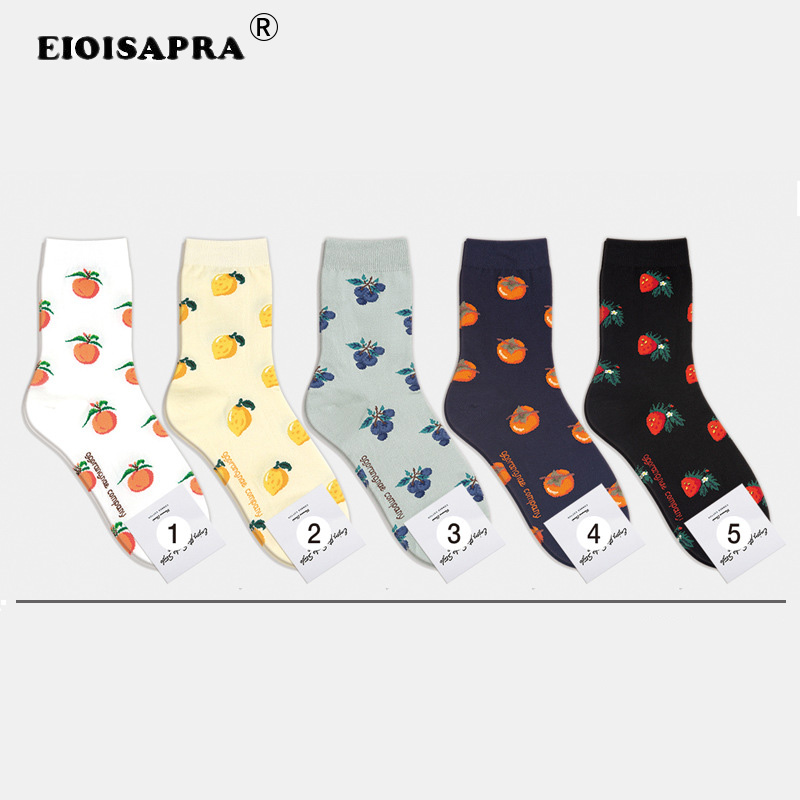 [EIOISAPRA]Creative Harajuku Korea Edition Women Socks Casual Fashion Orange Lemon Blueberry Persimmon Strawberry Fruit Socks