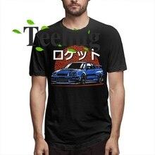 New Novelty Male Rocket Skyline R34 GTR T Shirt 100% Cotton Japanese Car Tee Shirts Summer Streetwear Camiseta