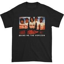 Camiseta linhas de fotos masculinas do horizonte preto grande