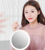 Makeup mirror with lamp desktop led light net red folding mirror dormitory female portable dressing student stepless dimming
