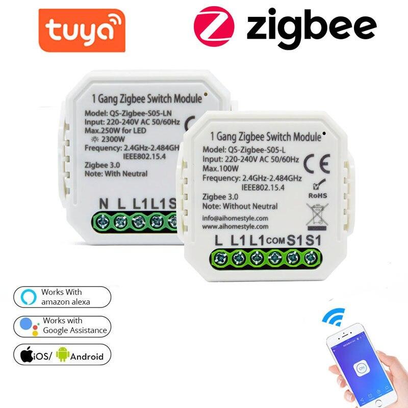 Умный модуль выключателя Tuya Zigbee, беспроводной светильник ключатель с поддержкой Alexa и Google Home Assistant, с нулевым или нейтральным проводом, 1/2 кла...