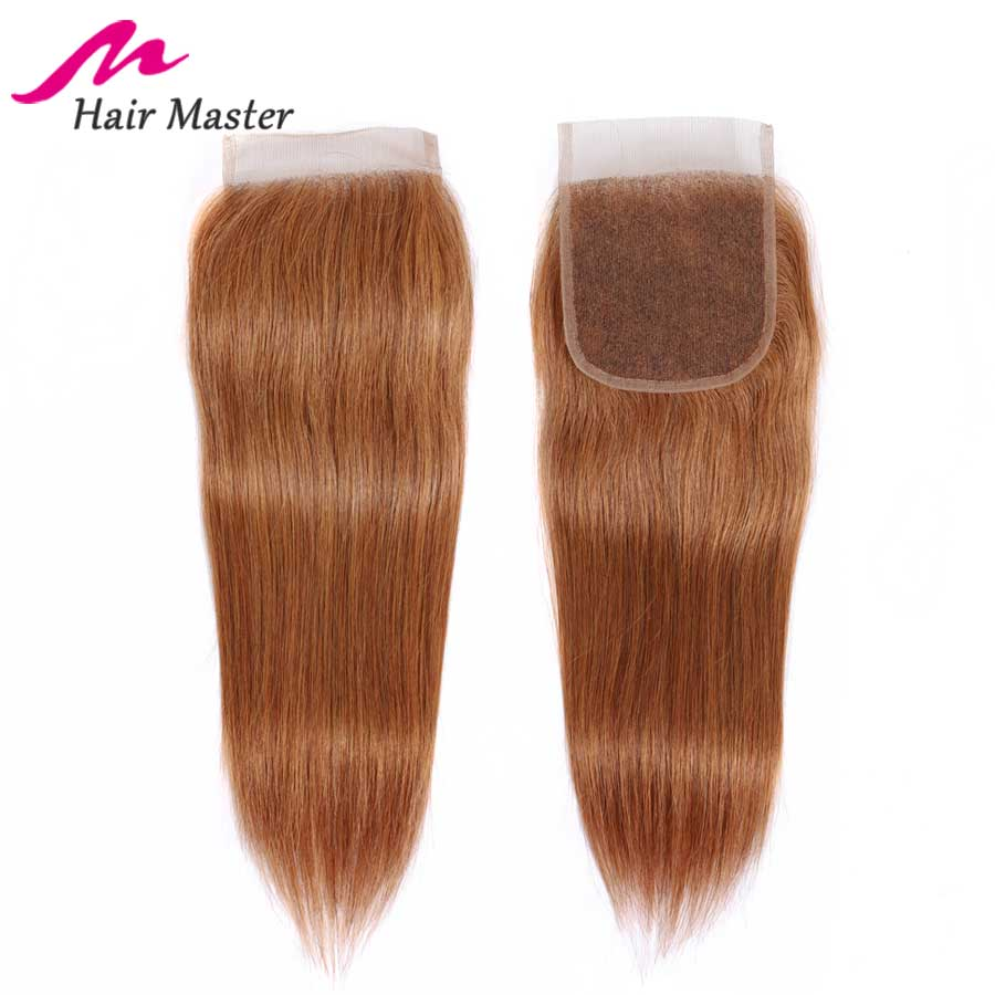 Hair Master Lace Closure Color 30 Peruvian Straight Hair Closure Remy Closure 8-22 Inch Free Middle Part Human Hair Lace Closure