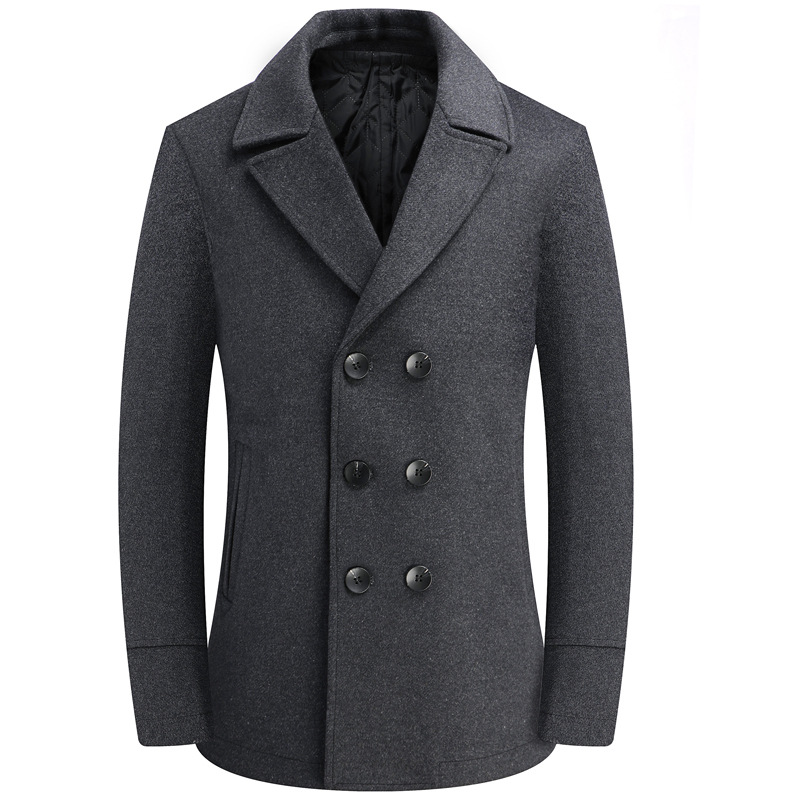 Winter Gray Woolen Coat Male Double Breasted Overcoat Wool Men Coat Long Sleeve Thick Blend Coat Boy Plus Size 4xl Windbreaker
