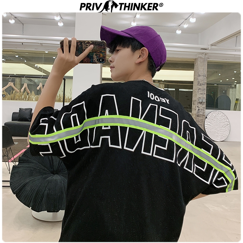 Privathinker 2020 Men Letter Printed Loose Tshirts Men Fashion Harajuku 4 Colors T-Shirt Male Streetwear Korean Tshirt Summer