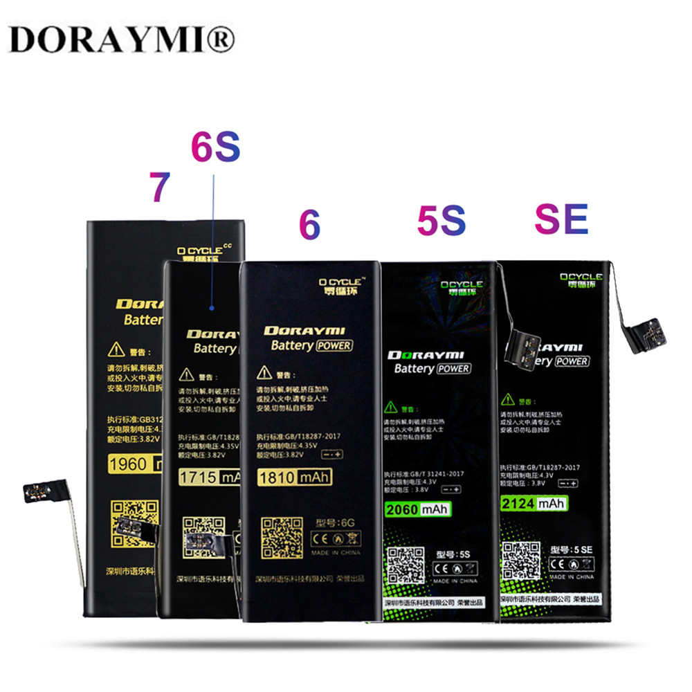 DORAYMI <font><b>Battery</b></font> for <font><b>iPhone</b></font> <font><b>6s</b></font> <font><b>Batteries</b></font> Replacement Lithium Polymer High Capacity for <font><b>iPhone</b></font> 6 7 5s SE Mobile Phone Bateria Tool image
