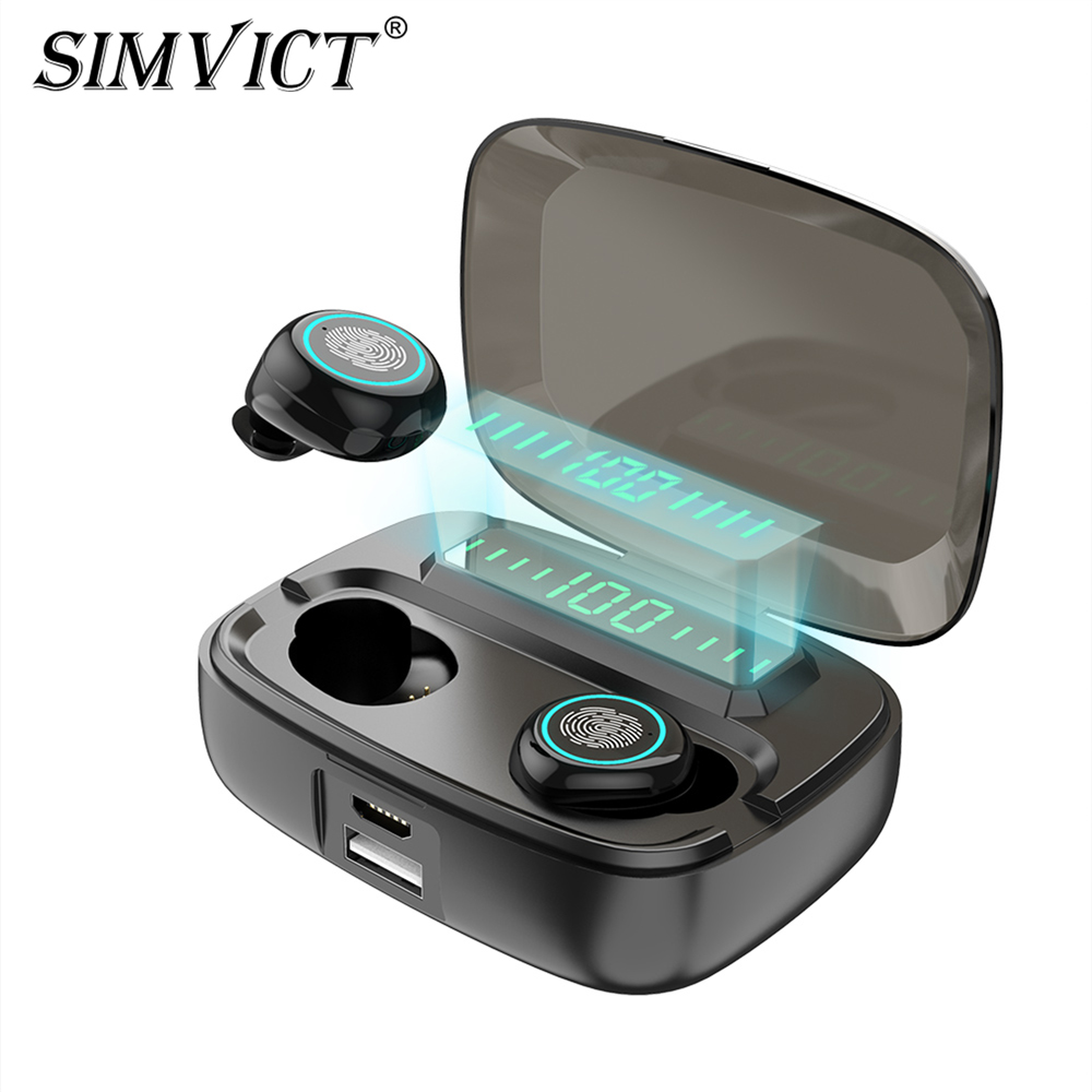 Simvict W5 TWS 5.0 Bluetooth Earphones In-ear Earbuds Wireless Headphone Stereo Bass Headset LED Phone Holder 2800mAh Power Bank