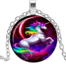 HOU! 2019 New Hot Sale Color Unicorn Glass Convex Fashion Pendant Necklace Popular Jewelry Gift