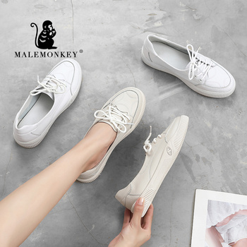 MALE MONKEY 932595 Women Shoes Genuine Leather Comfortable Soft Female Ballet Flat Nurse Causal Shoes Ladies Women Loafers White ytracygold flat shoes women genuine leather loafers summer comfortable casual shoes women soft shoes female outdoor flats