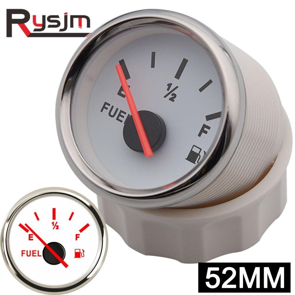 Indicador de nivel de combustible para coches y barcos de 52mm, indicador de nivel de combustible para E-1/2-F para 0 ~ 190ohm, Unidad de emisor de Sensor de combustible con retroiluminación de 9 ~ 32V Boost/vacío/temperatura del agua/temperatura del aceite/Prensa de aceite/voltaje/tacómetro/relación aire-combustible/indicador de EGT + Gauge Pods 52mm caja analógica led blanca