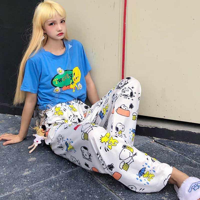 NiceMix Harajuku estampado de dibujos animados niños encantador suelto ocio estudiantes niñas verano Pantalones rectos