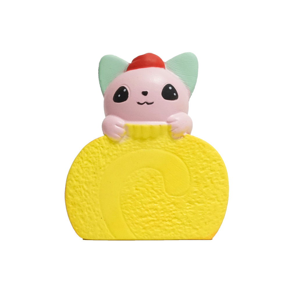 Simulation Cake Cat Slow Rebound Toy Ear Purple Roll Cartoon Scented Slow Risin Squeeze Toys Collection Stress Reliever Toy L107