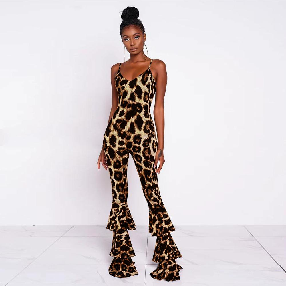 KGFIGU 2019 New Women Sleeveless Fashion Leopard jumpsuit Sexy Wrap V-Neck Ruffled High Waist Rompers Long Pants Playsuit