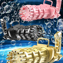 New Plastic Automatic Gatling Bubble Gun Machine 8 Hole Huge Amount Blowing Bubble Summer Outdoor Fun Boy Toys For Kids Gift