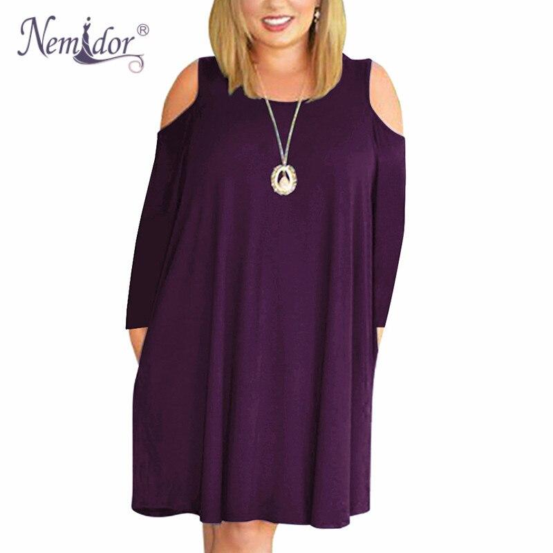 Nemidor Women's Long Sleeve Plus Size  T shirt Dress