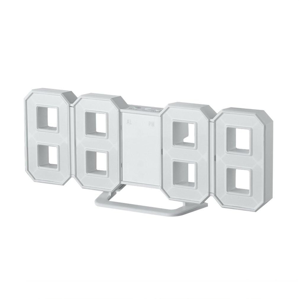Multi-use 8 Shaped LED Display Desktop Digital Table Clocks 3 Levers Of Light: Bright Snooze Interval Setting USB Charge