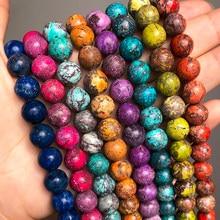 Cuentas de piedra de jaspes de sedimentos marinos multicolores para la fabricación de joyas, cuentas espaciadoras sueltas redondas, abalorios para pulseras DIY de 15 pulgadas, 6, 8 y 10mm