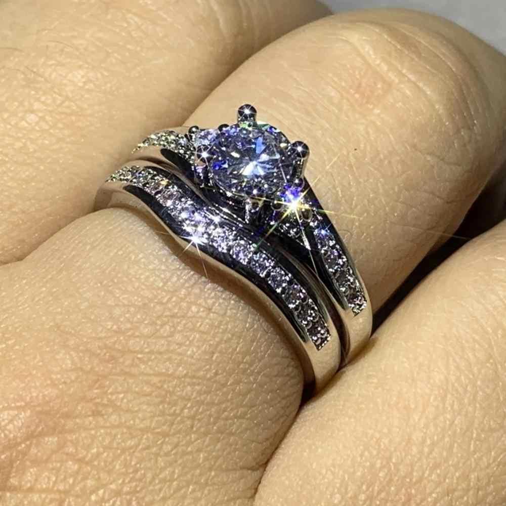Couple anneaux bijoux de luxe 10KT or blanc remplir rond coupe blanc AAAAA cubique Zircon parti femmes anneau