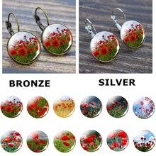 Red Poppy Flower Ear Hook Earrings Glass Dome Flower Earrings Jewelry Accessories Fashion Woman Earrings Gifts For Good Friends